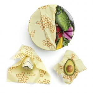 Beeswax wrap on containers