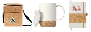 Cooler bag, mug, and notebook made from cork
