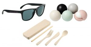 Sunglasses, lip balm, and utensils made from wheat straw
