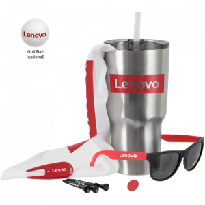 golf gift kit with tumbler, tees, and sunglasses