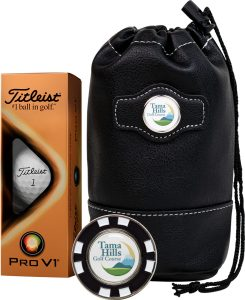Titleist golf gift kit with balls and leather bag