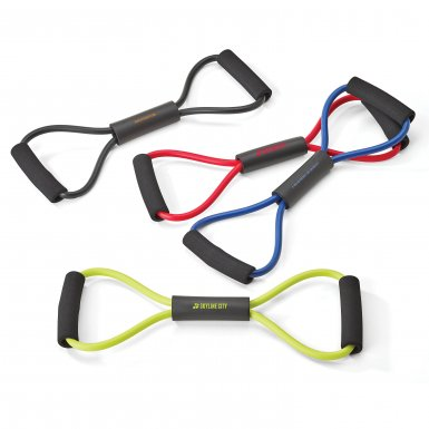 resistance bands in black, red, blue, and lime