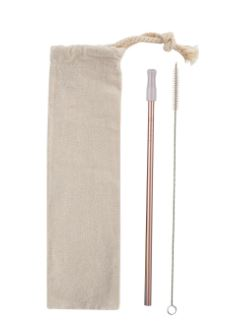 stainless straw kit with cotton pouch and cleaning brush