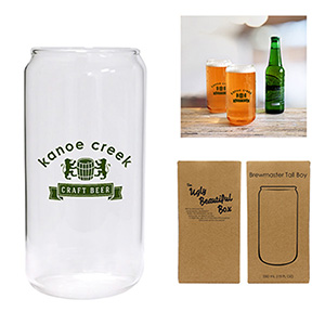 tall drinking glass with logo