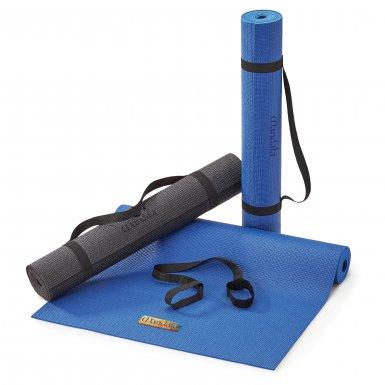 Blue and grey yoga mats