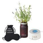gift set with lavender planter, eye mask, Sound Machine