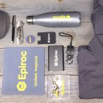 Epiroc Employee kit with branded apparel
