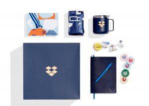 Dropbox employee welcome kit with brnaded merch