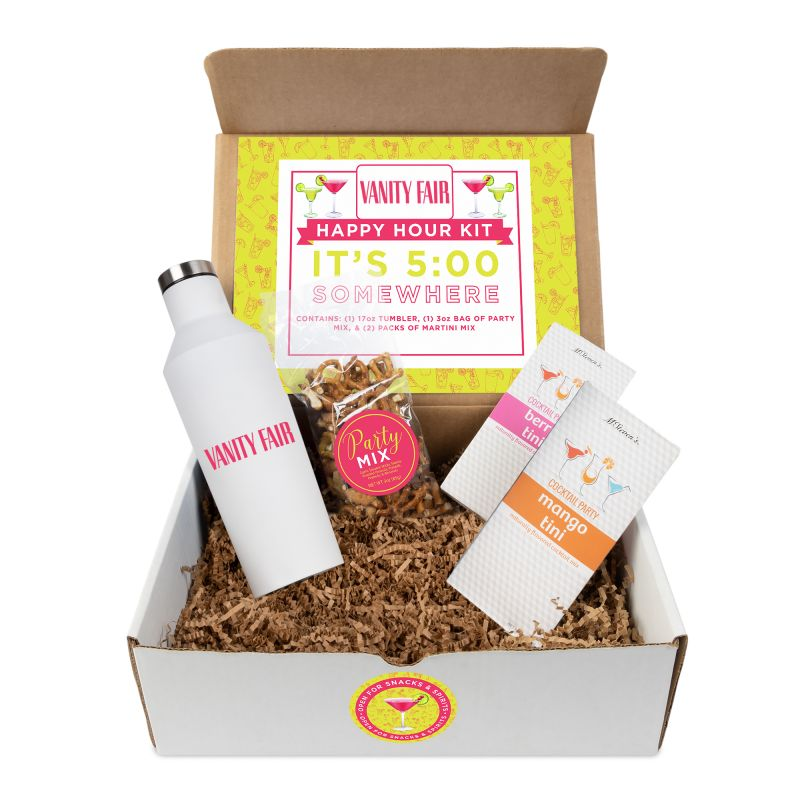 Happy Hour cocktail kit with tumbler and drink mixes
