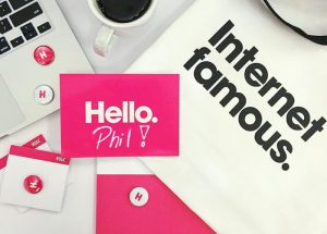Huge Inc employee welcome kit with branded merch
