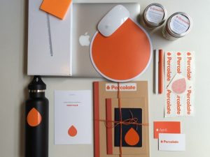 Percolate employee kit with branded merch