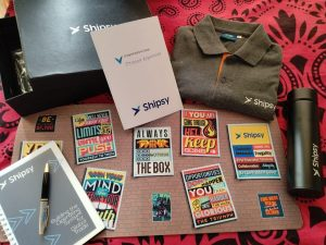 Shipsy employee welcome kit with branded merch