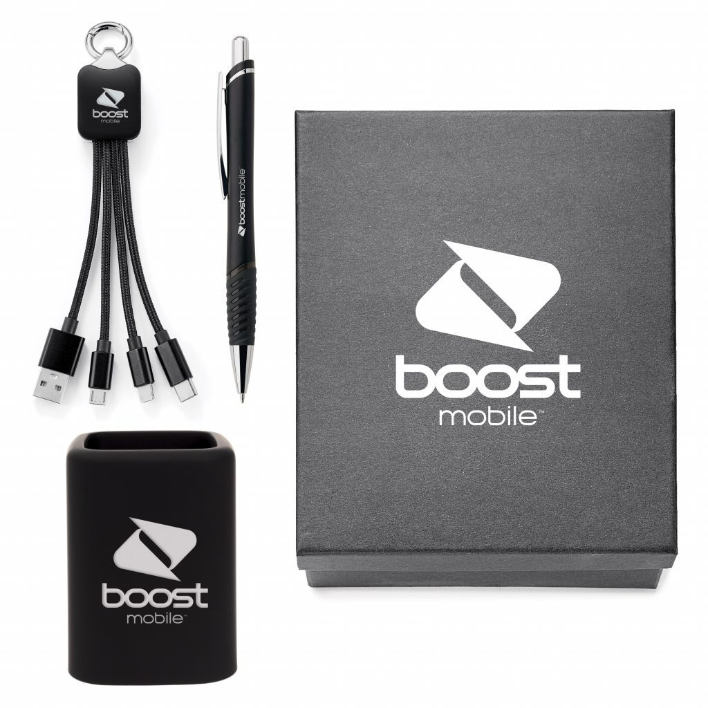 employee kit with pen, USB cables, and pen holder