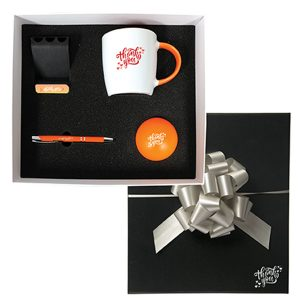 work from home employee set with mug, pen, and stress ball