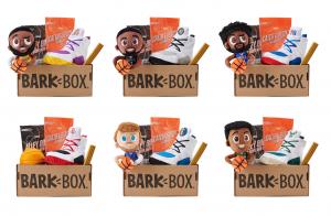 Barkbox and NBA collaboration box with dog toys