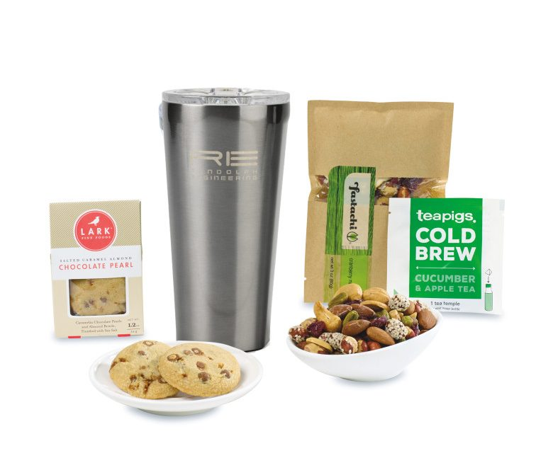 Gift Box with stainless steel 16-ounce tumbler and assorted snacks