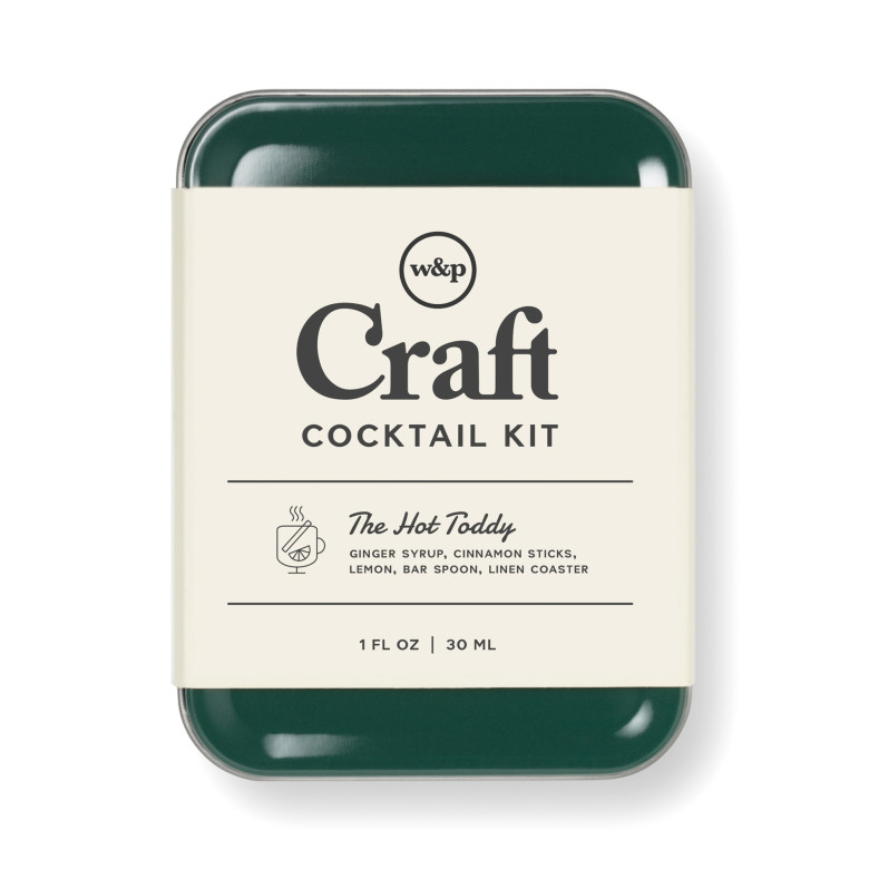 Green tin with cocktail ingredients
