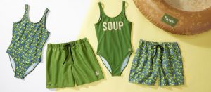 Panera Bread branded swimsuits and swim trunks