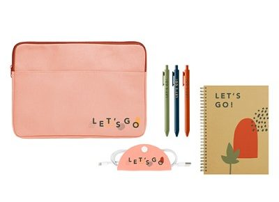 stationery set with pink laptop sleeve