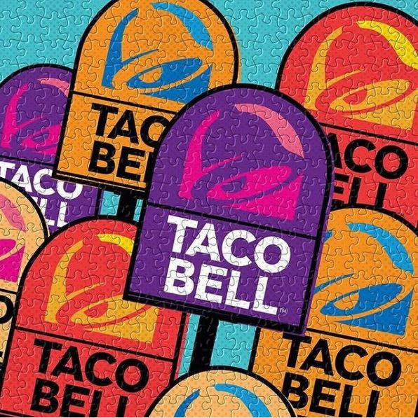 Taco Bell puzzle with logos