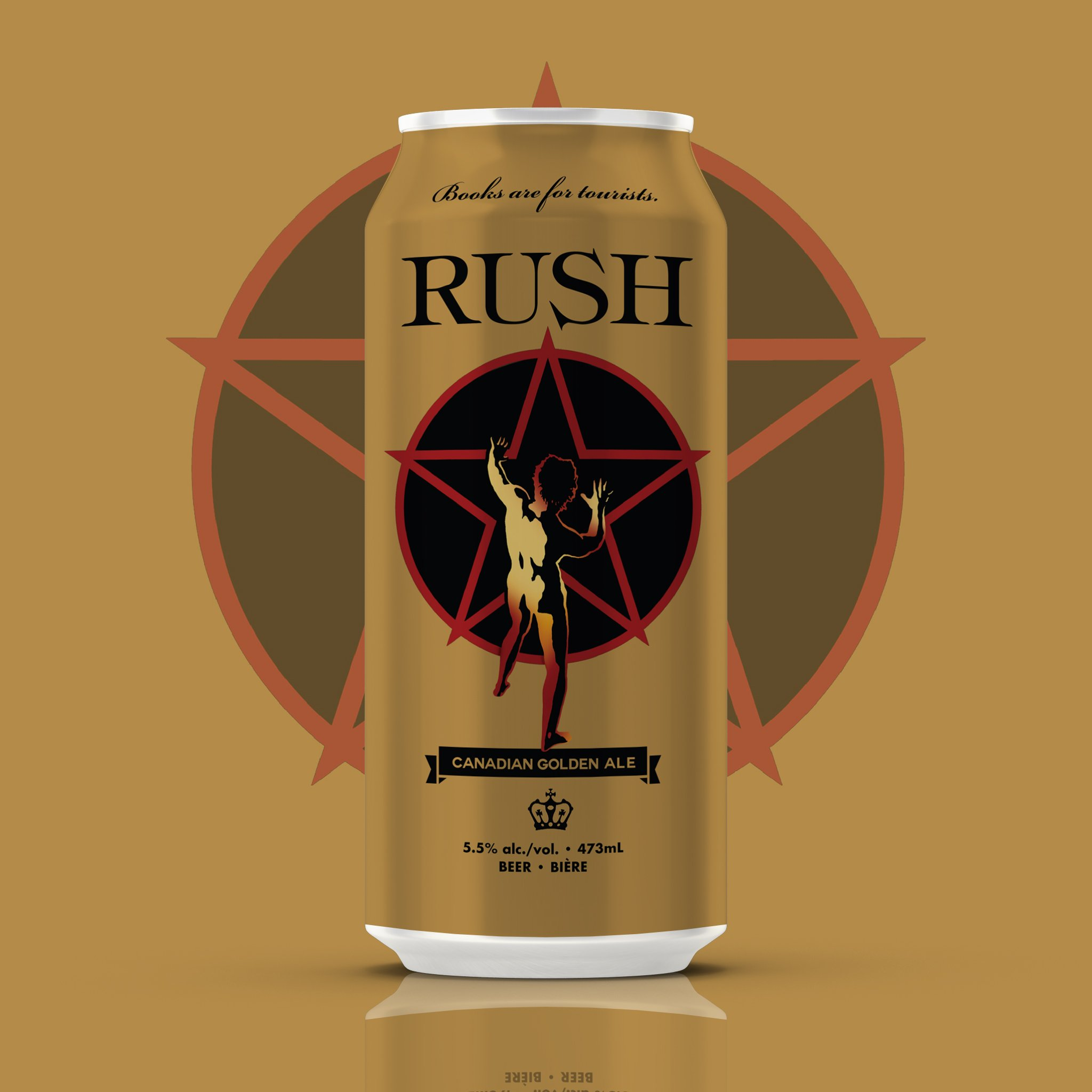 Rush beer can design in gold